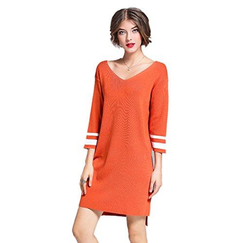 Sólido Las Larga V Invierno Orange Suelto Manga En Otoño Skater Cuello E Empalme Vestido De Color Mujeres Punto Suéter APx14xwqt