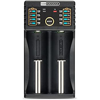 2-Bay Smart Battery Charger for 18650 26650 AA AAA 18490 18350 17670 17500 16340 RCR123 14500 IMR 10440 Li-ion Ni-MH Ni-CD LiFePO4 Rechargeable Batteries With USB Port