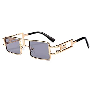 Steampunk Rectangular Sunglasses Men Gold Black Red Flat Top Square Sun Glasses