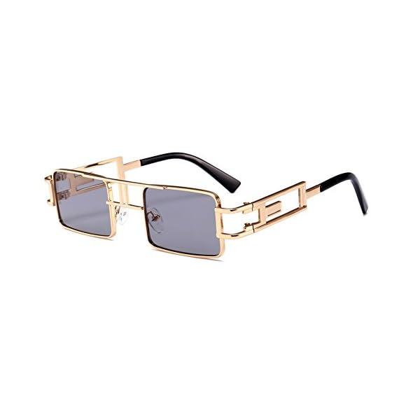 Steampunk Rectangular Sunglasses Men Gold Black Red Flat Top Square Sun Glasses 3
