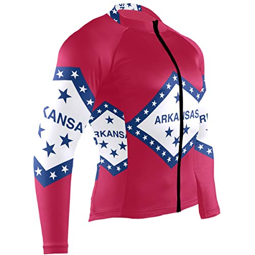Arkansas Cycling Jersey - Men's Cycling Jerseys Arkansas State Flag Quick Dry Bike Jacket Long Sleeve Shirt Tops Zipper Pockets