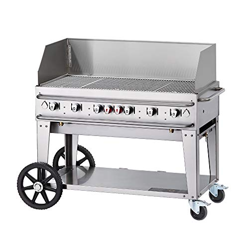 Crown Verity CV-RCB-48WGP-SI50/100 Pro Series Grill, Liquid Propane Outdoor Charbroiler with 6 Burners, Wind Guards, Single Inlet & Accommodates 50 or 100 lbs Tanks