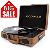 GOODNEW Vinyl Record Player Turntable, Built in Speakers, Support Headphone & RCA Outputand AUX (3.5mm) Input Jack & Bluetooth Connection