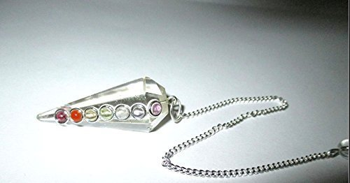 Crystal Quartz Chakra Pendulum Faceted Cone Shaped Top Quality A++ ()