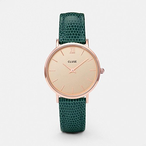 - CLUSE Minuit Rose Gold Champagne Emerald Lizard CL30052 Women's Watch 33mm Leather Strap Minimalistic Design Casual Dress Japanese Quartz Elegant Timepiece