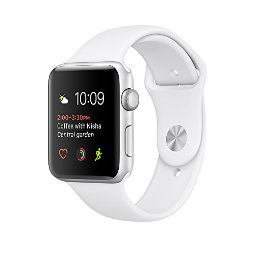 Apple watch series 2 42mm ALUMINUM Case SPORT (Silver Aluminum Case with White Sport Band) by Apple