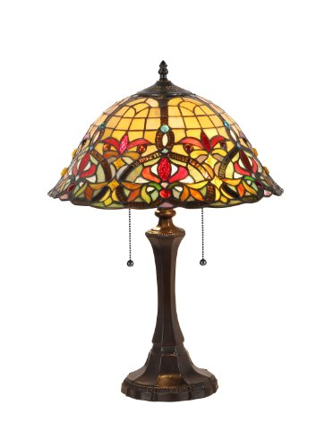 Lamp Glass Leaded - Chloe Lighting CH33389VR16-TL2  Bertram Tiffany-Style Victorian 2 Light Table Lamp 18-Inch Shade