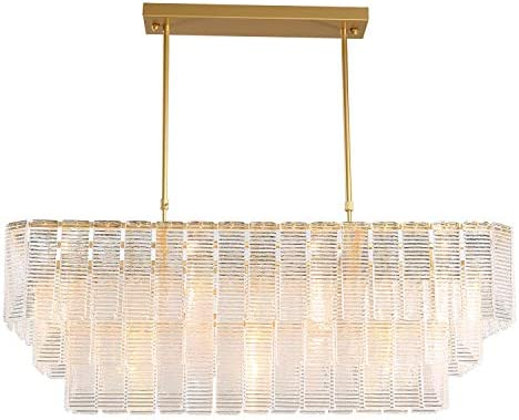 APBEAM Modern Crystal Rectangle Chandelier