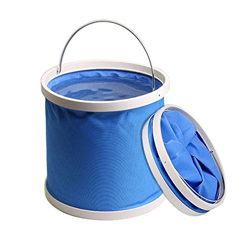 Longwood Handle (Collapsible Folding Water Bucket 9L 2.3 gallon Multifunctional for Fishing Camping Hiking Travel Gardening with Steel wire Handle Grip, Water Resistant Fabric, Ultra Portable Shape (Blue))