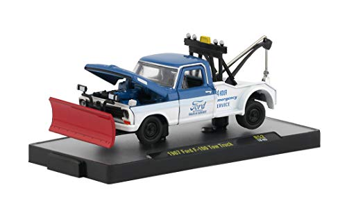M2 Machines Auto Trucks Release 52 1967 Ford F-100 Tow Truck with Snow Plow 1:64 Scale Diecast Model 18-65 ()