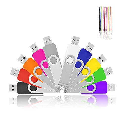 Flash Drives 1GB, HKUU 10 Pack USB 2.0 Memory Sticks Thumb Drive Pen Disk Bulk for Data Storage (10 Colors) ()