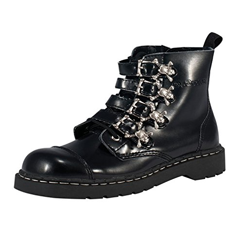 Boots Skull Buckle (T.U.K. Women's 4-Skull Buckle Boot,Black,5)