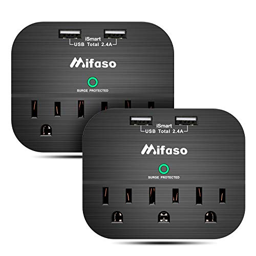 3-Outlets Surge Protector, Multi Plug Outlet Extender Wall Adapter with 2 USB Ports, 490 Joules, ETL Certified for Home Office- 2Pack Black