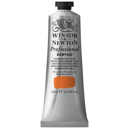 Winsor & Newton Professional Acrylic Color Paint, 60ml Tube, Cadmium Red Light Acrylic Colors Cadmium Red Light