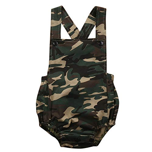 Infant Baby Girl Boy Camouflage Outfits Backless Sleeveless Romper Jumpsuit Summer Clothes (Camoflage,12-18 Months) for $<!--$12.99-->