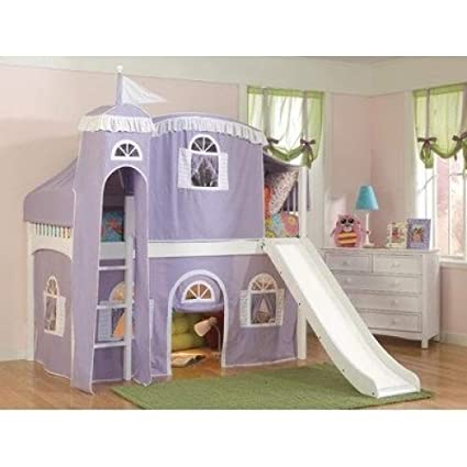 Amazoncom Windsor Twin Low Loft Bed With Castle Tent And Built In