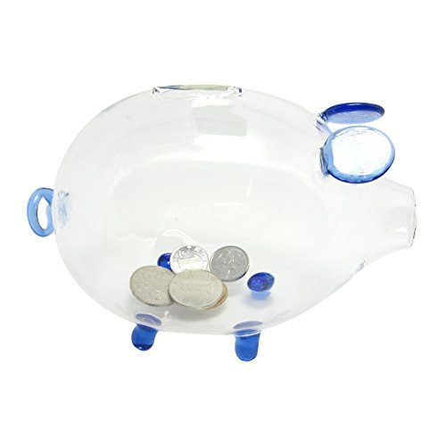 Transparent Glass Small Chubby Pig Piggy Bank Cashbox Coin Box Birthday Lover Wedding Gift Decor Blue