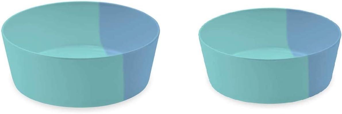 TarHong Dual Blue Pet Food & Water Bowl Combo Set, Premium Grade Food & Water Bowl Pet Dinnerware Set