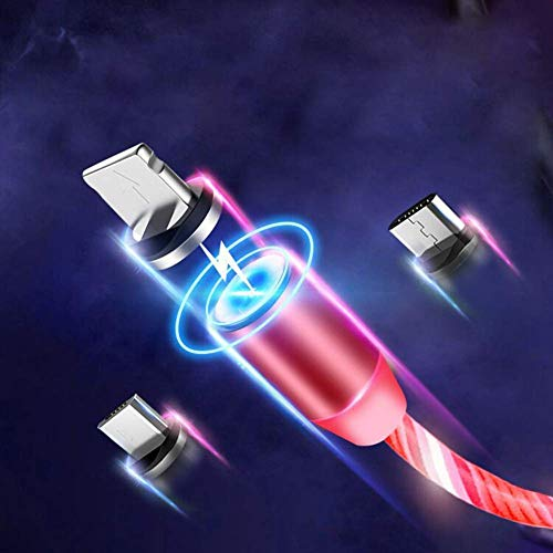 eLUUGIE LED Flowing Charger Cable Light Up Strong Magnetic Charging Cable Multiple USB with 3 Connectors (Type C/Micro USB/L) 3 in 1 Charging Cable for All Phones Galaxy S10 Note 9 (Pink) ()