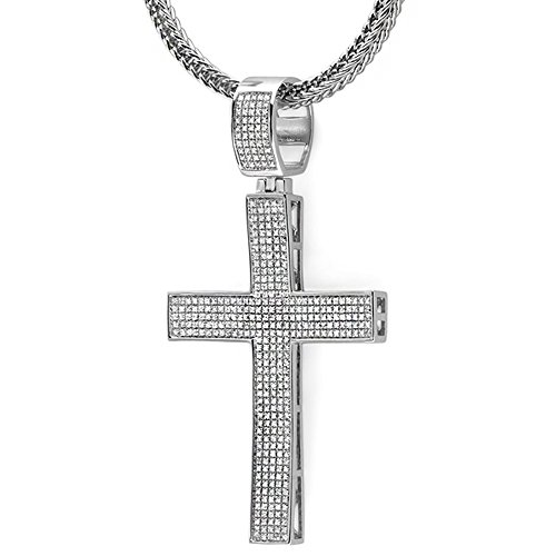 2.00 Carat (ctw) Sterling Silver White Diamond Micro Pave Mens Hip Hop Style Religious Cross Pendant Necklace, FREE CHAIN by DazzlingRock Collection