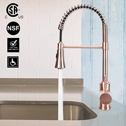Copper Single Handle Pull-Down Copper Kitchen Faucet with Spring Spout – Five Years Warranty-Akicon