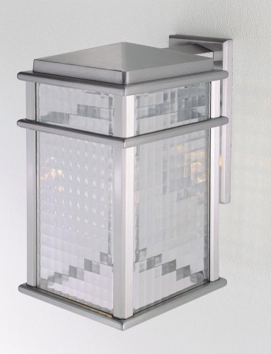 (One Light Brushed Aluminum Clear Checked Glass Wall Lantern OL3402BRAL )