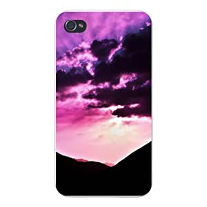 Apple Iphone Custom Case 5 / 5s White Plastic Snap on - Clouds & Sun in Sky w/ Mountain