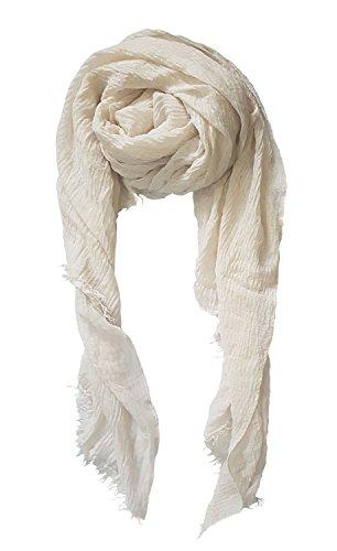 (SoLineSolid Color Tassels Scarves Shawl Blanket Warm Warp lightweight Large Scarf for Women (Ta_Ivory))