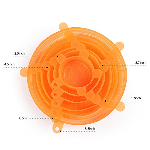 Silicone Stretch Lids with Hang Holes, Silicone Storage Covers for Bowl, Can, Jar, Glassware, Food Saver Covers, 6 Pack of Various Sizes (Orange)
