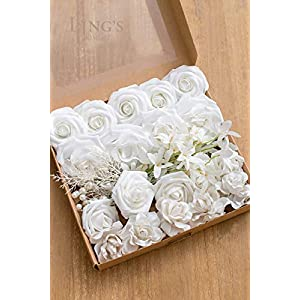 Ling's moment Artificial Flowers Combo Realistic Fake Roses with Stem for DIY Wedding Bouquets Centerpieces Floral Arrangements Decorations (Pearly White) 5