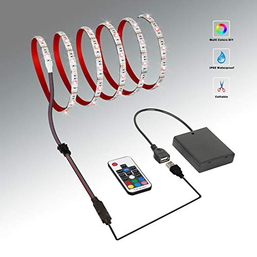 LED Strip Lights Battery Powered With RF Remote Controller, Waterproof LED Light Strips for TV Backlight RGB Flexible and Cuttable, USB Battery Operated Rope LED Strip Lighting for Home Decoration