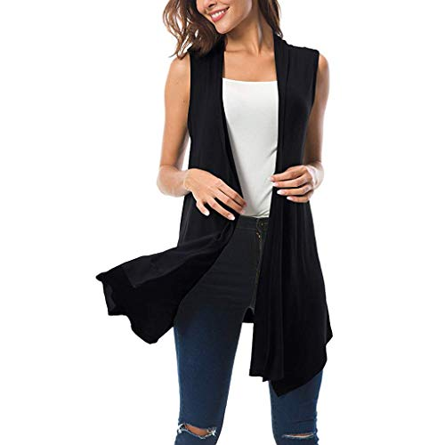 - Fashion 2019 Women's Open Front Cardigan Asymmetric Hem Draped Sleeveless Vest Plus Size Long Blouses by QIQIU Black