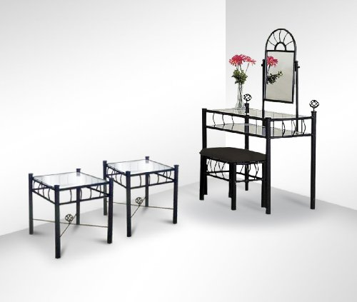 Black Metal Sunburst Vanity and Two Glass top Nightstands Set