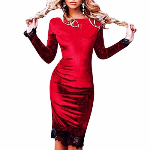 QIYUN.Z Elegante Vestido de Encaje de Manga Larga Cóctel Boda Rojo