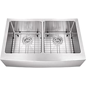 0505AP 50/50 33'x20'x10' Farmhouse Apron Front 16 Gauge Double Bowl Stainless Steel Sink INCLUDES Grid Set and Strainers