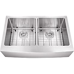 Farmhouse Kitchen 33-in 16-Gauge Stainless Steel Apron Front Farmhouse 50/50 Double Bowl Kitchen Sink with Grid Set and Strainers farmhouse kitchen sinks