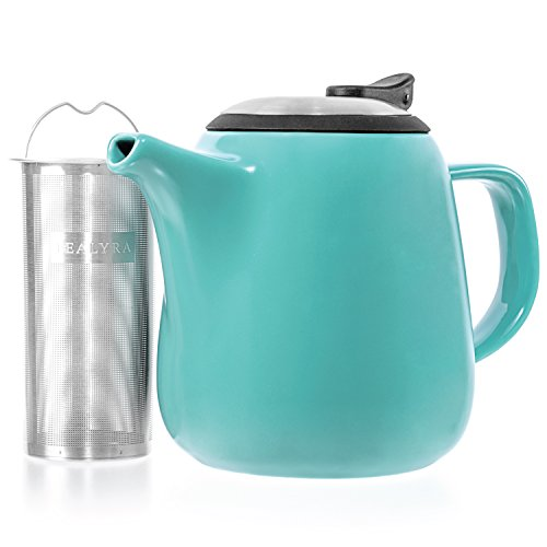 Tealyra - Daze Ceramic Teapot Turquoise - 27-ounce (2-3 cups) - Small Stylish Ceramic Teapot with Stainless Steel Lid - Extra-Fine Infuser To Brew Loose Leaf Tea