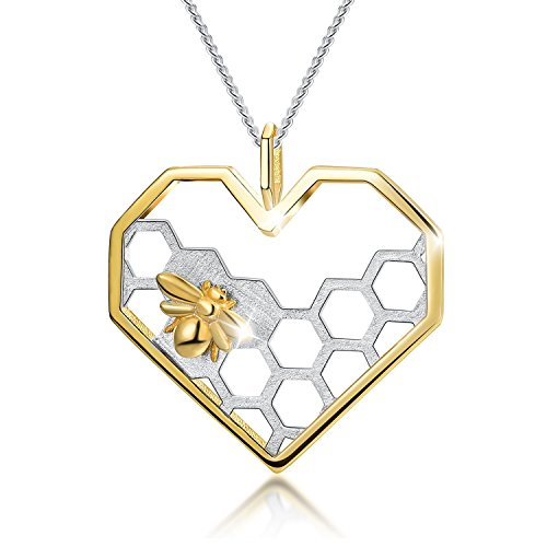 Lotus Fun S925 Sterling Silver Necklace Pendant Honeycomb Bee Pendant with Link Chain Length 17inches, Handmade Unique Jewelry Gift for Women and Girls