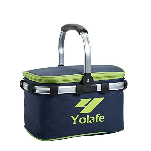 Yolafe Insulated Picnic Basket, Navy Blue Collapsible Picnic Tote, Impermeable Waterproof Lunch Bags, 10L / 80 lbs Portable Shopping Tote (1 Piece) ()