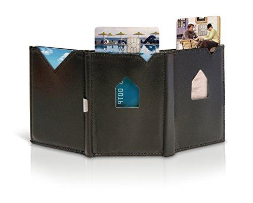 Exentri de cuero genuino monedero tarjeta de crédito Nubuck Black EX019 (Nubuck Schwarz)