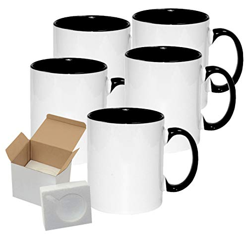 Case of 12 Pcs 11oz Sublimation Blank All White and Black Two Tone with Black Handle-Case Mugs With Gift Mug Box. Mugs - Cardboard Box with Foam -