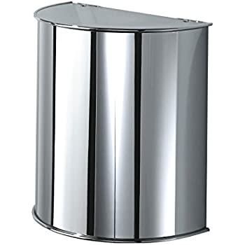 185194896b4 DWBA Round Stainless Steel Wall Mounted Waste Can  Wastebasket   Half Moon  Trash Can with