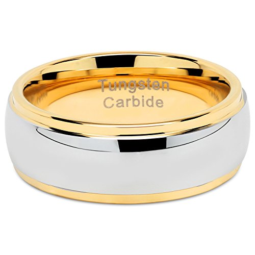 100S JEWELRY Tungsten Rings For Men Women Wedding Band Two Tones Gold Silver Engagement Size 6-16 With Half Sizes Available (10) by 100S JEWELRY (Image #4)