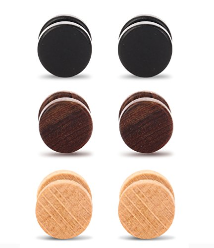 (Tanyoyo Wood Cheater Fake Ear Plugs Gauges Illusion Screw Stud Earrings 3pair a set (3 Pair 8mm))