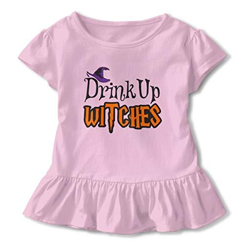 Clarissa Bertha Halloween Witches Wine Glass Toddler Baby Girls' Short Sleeve Ruffle T-Shirt (Clarisse Rocks Glass)