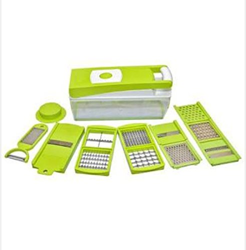 Fullstar 4 Adjustable Stainless Steel Blades Pro Vegetable and Fruit Chopper with Food Container and Non Skid Base