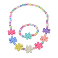 Kids Jewelry - Set For Little Girls, Toddlers, Children - Colorful Stretch Play Necklace And Bracelet