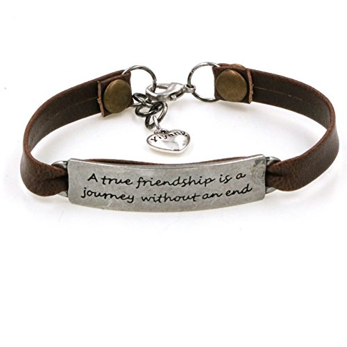 Yiyang Motivation Friendship Vintage Antique Leather Bracelet Brown Leather Inspirational Jewelry Gift for Friend A True Friendship is A Journey with An (Leather Friendship Bracelets)