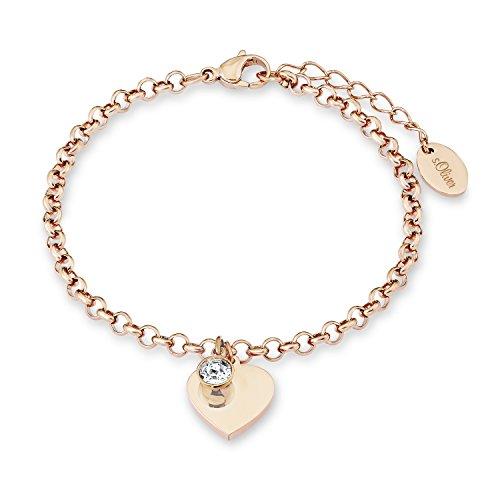 s. Oliver Damen-Armband Herz gravurfähig Edelstahl teilvergoldet Kristall weiß Rundschliff 20 cm - 540186