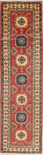 Rug Source New One-of-a-Kind Kazak Wool Handmade Pakistani Traditional Oriental 10 ft Rug Runner Red (9' 8